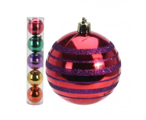 kerstballen set 5x80mm Fancy X-mas