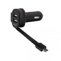 XQISIT Autolader - met vaste Micro-USB Kabel en 2 USB Poorten