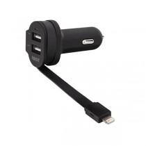 XQISIT Autolader - met vaste Apple Lightning Kabel en 2 USB Poorten