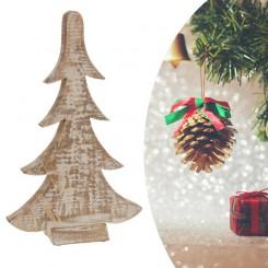 Houten decoratie kerstboom wit