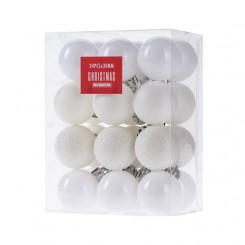kerstballen set 24x30mm White
