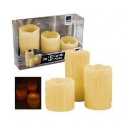 LED kaarsen wax - set 3 stuks